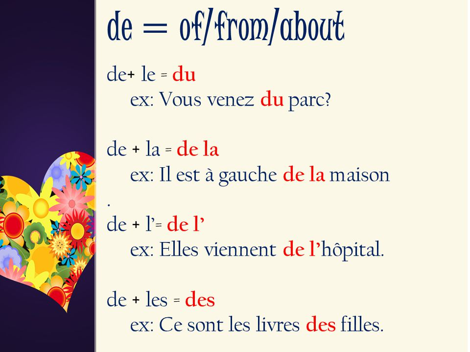 de = of/from/about