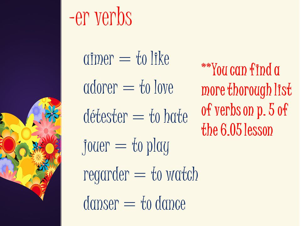 -er verbs aimer = to like adorer = to love détester = to hate