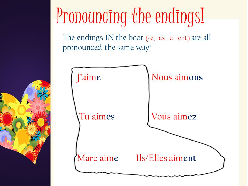 Pronouncing the endings!