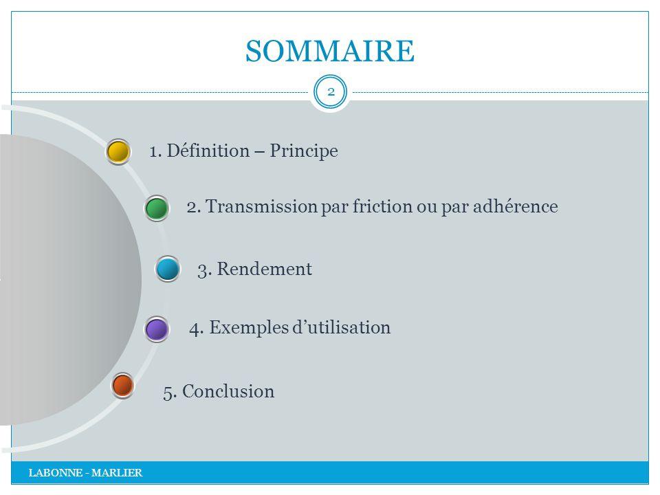 SOMMAIRE 1. Définition – Principe