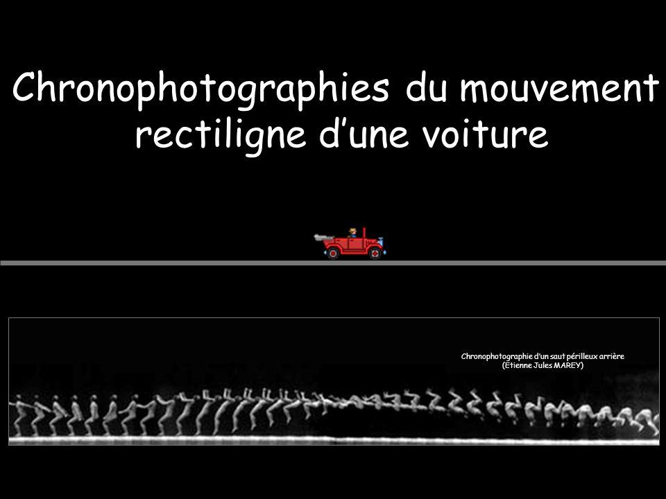 Chronophotographies du mouvement rectiligne d'une voiture