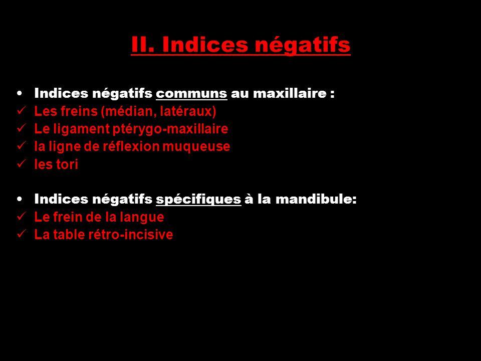 II. Indices négatifs Indices négatifs communs au maxillaire :