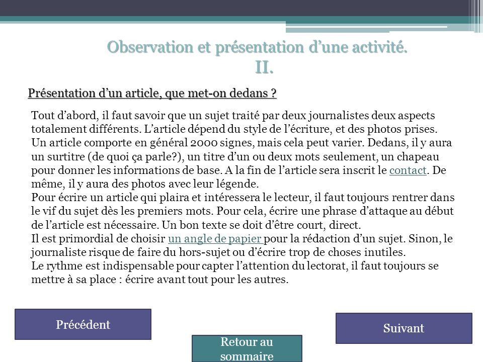 II. Observation et présentation d'une activité.