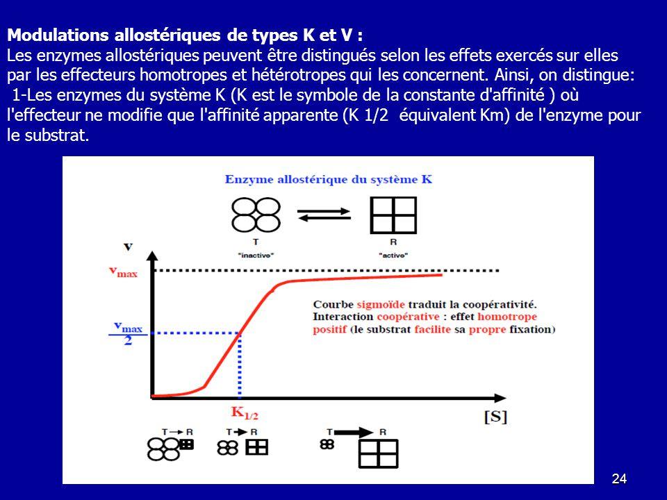 Modulations allostériques de types K et V :