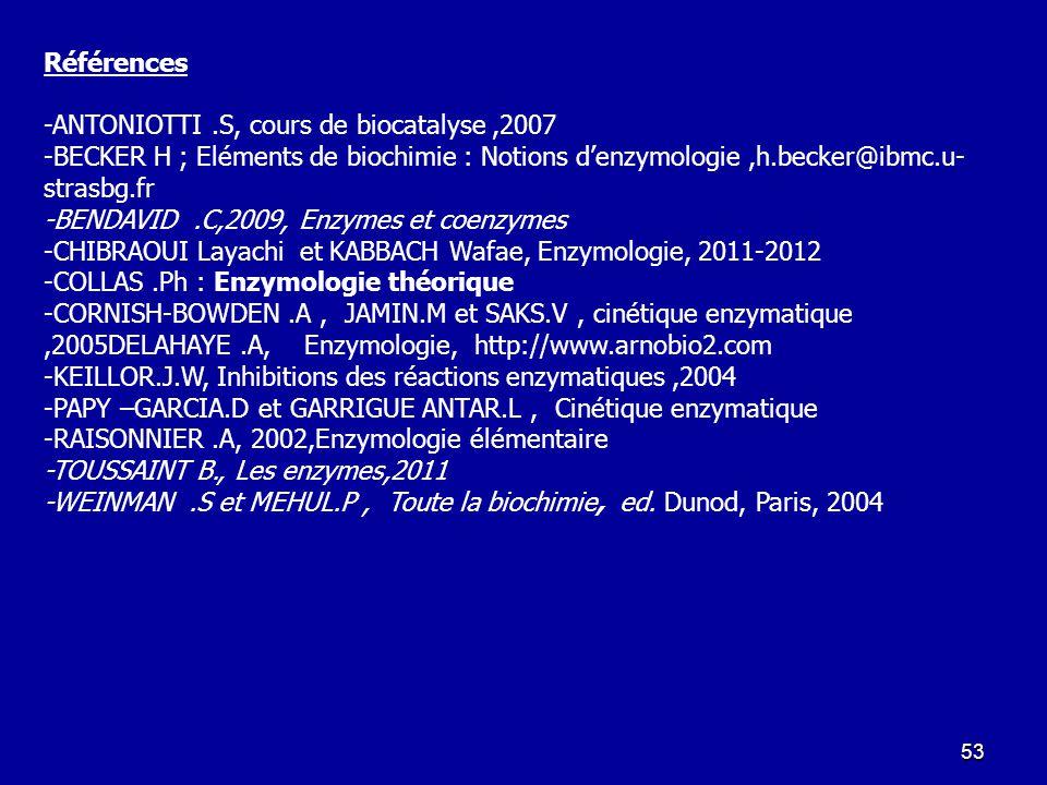 Références -ANTONIOTTI .S, cours de biocatalyse ,2007. -BECKER H ; Eléments de biochimie : Notions d'enzymologie ,h.becker@ibmc.u-strasbg.fr.