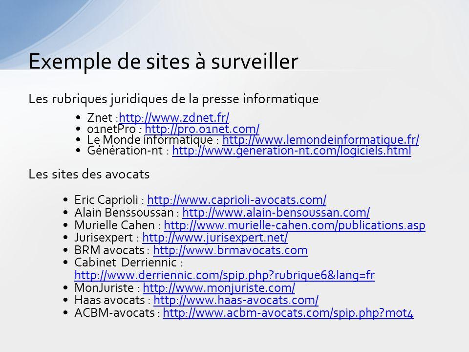 Exemple de sites à surveiller