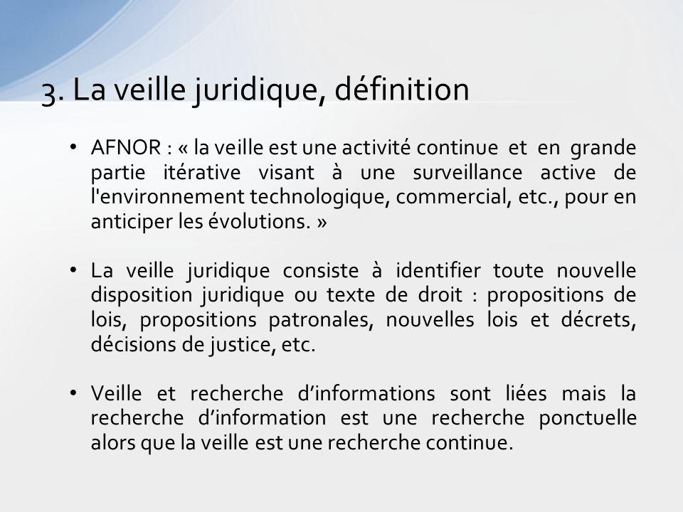 3. La veille juridique, définition