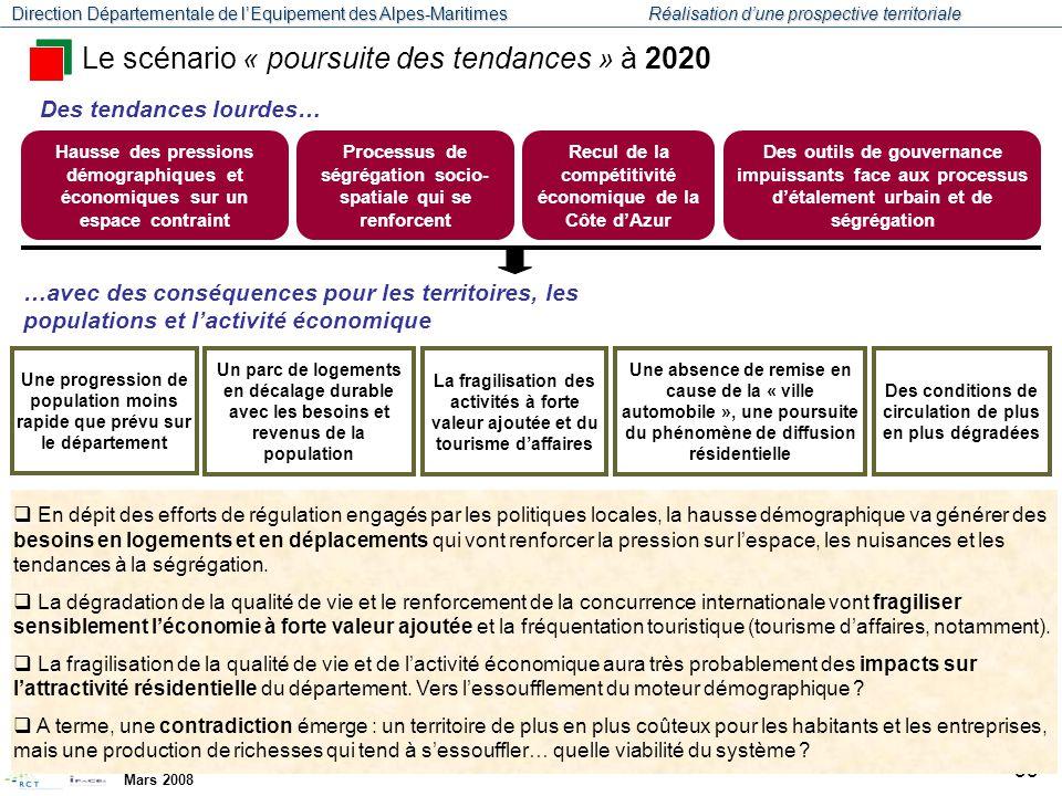 Le scénario « poursuite des tendances » à 2020