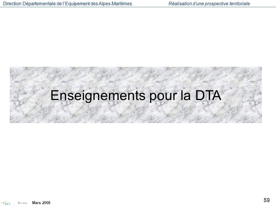 Enseignements pour la DTA