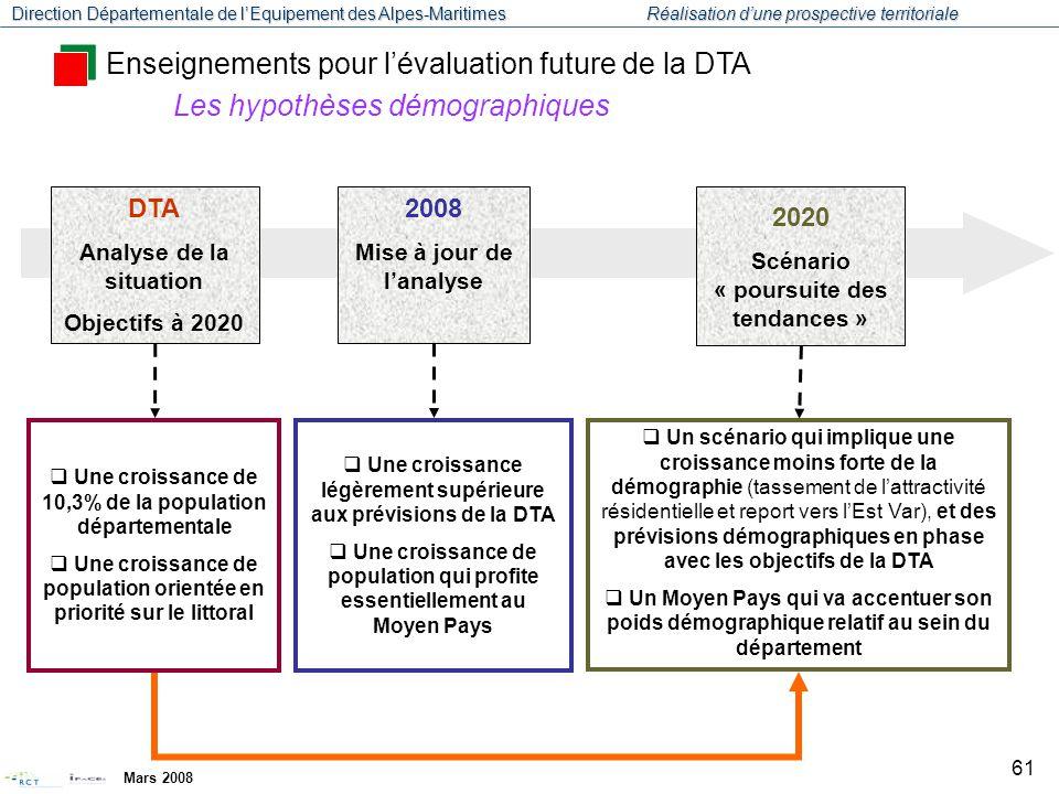 Enseignements pour l'évaluation future de la DTA