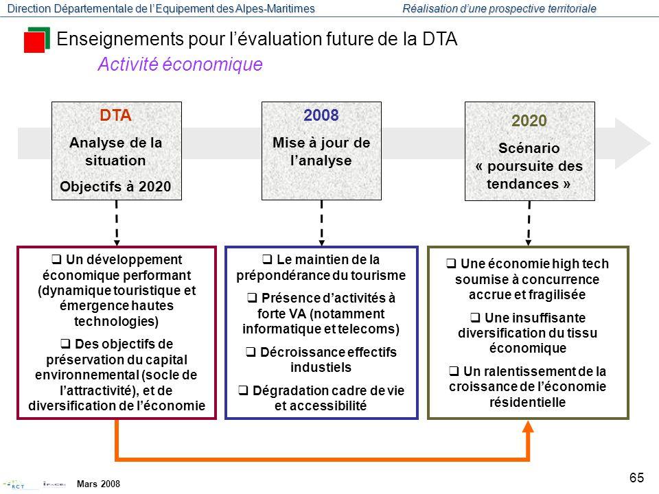Enseignements pour l'évaluation future de la DTA Activité économique
