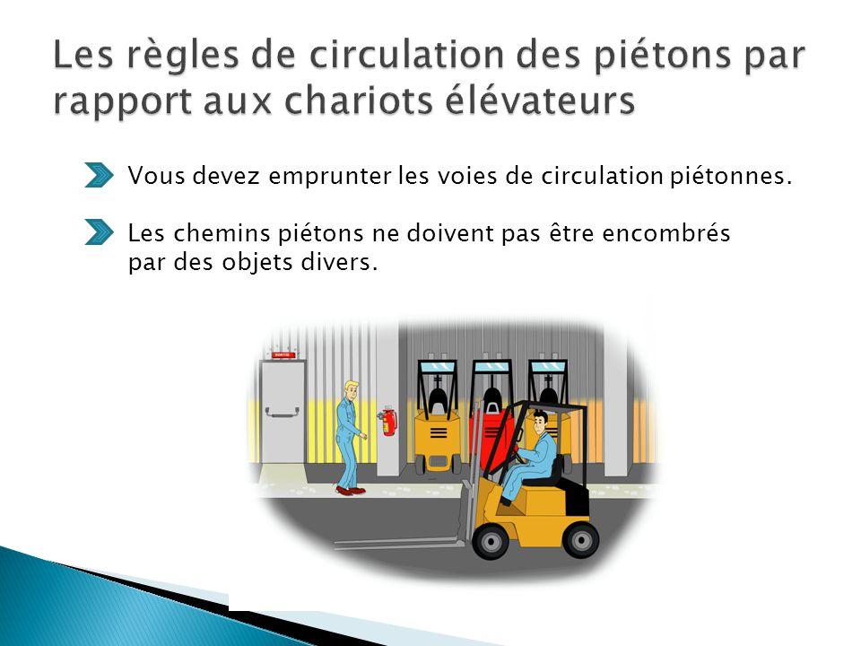 Les règles de circulation des piétons par rapport aux chariots élévateurs