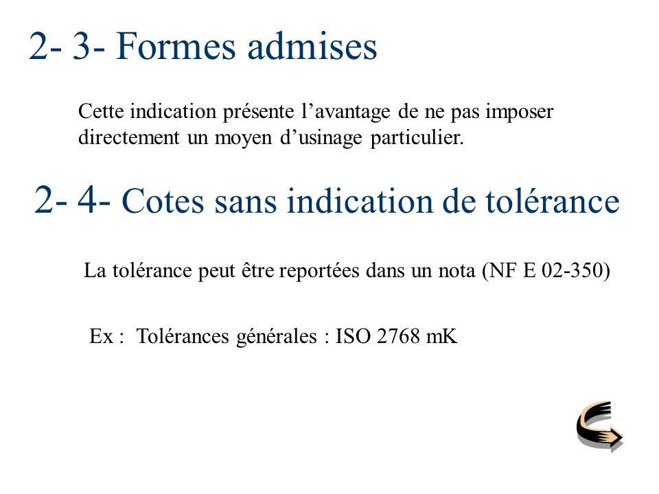 2- 4- Cotes sans indication de tolérance