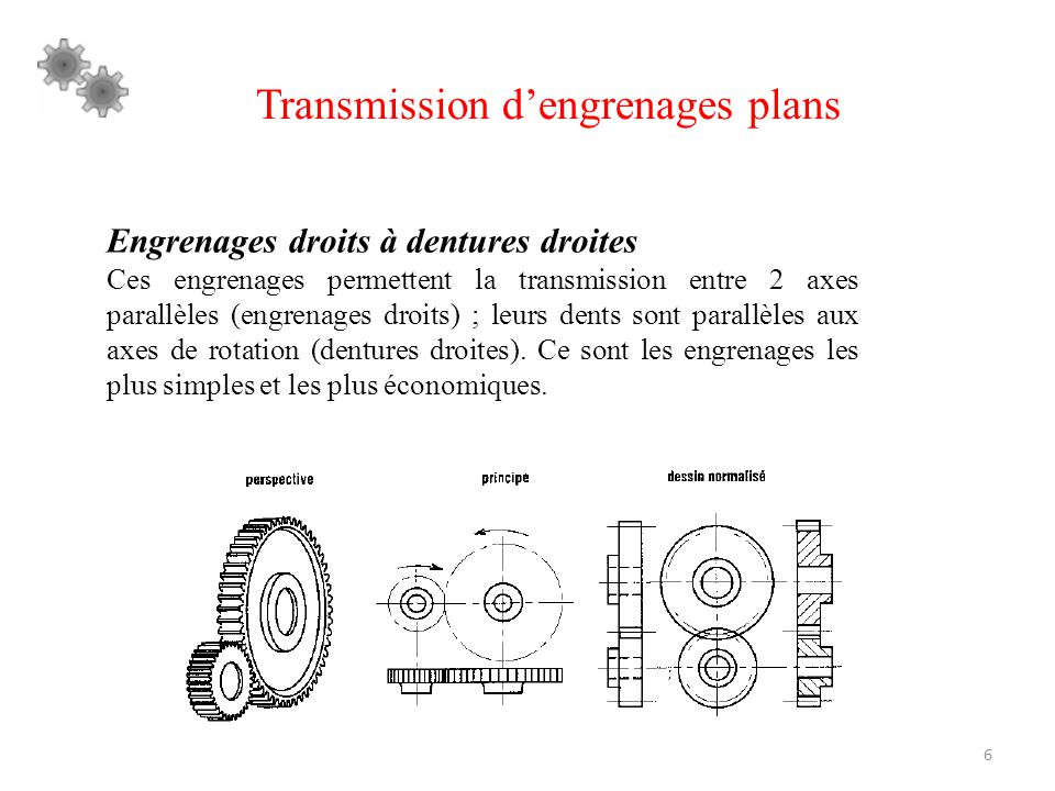 Transmission d'engrenages plans