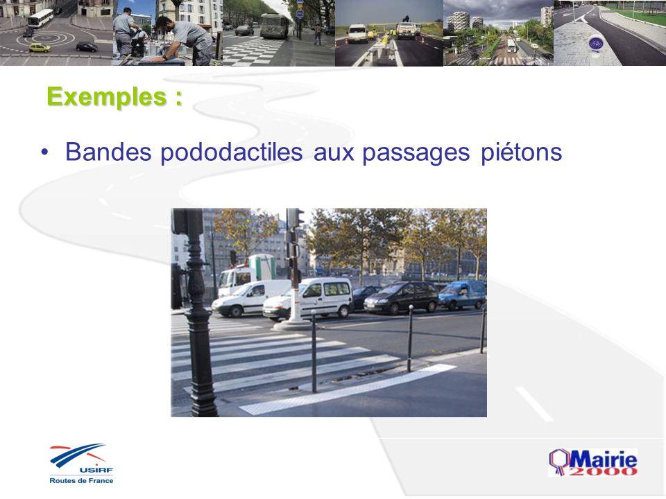 Exemples : Bandes pododactiles aux passages piétons