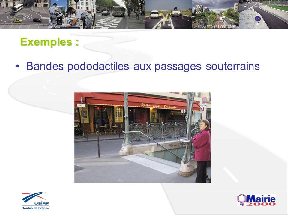 Exemples : Bandes pododactiles aux passages souterrains