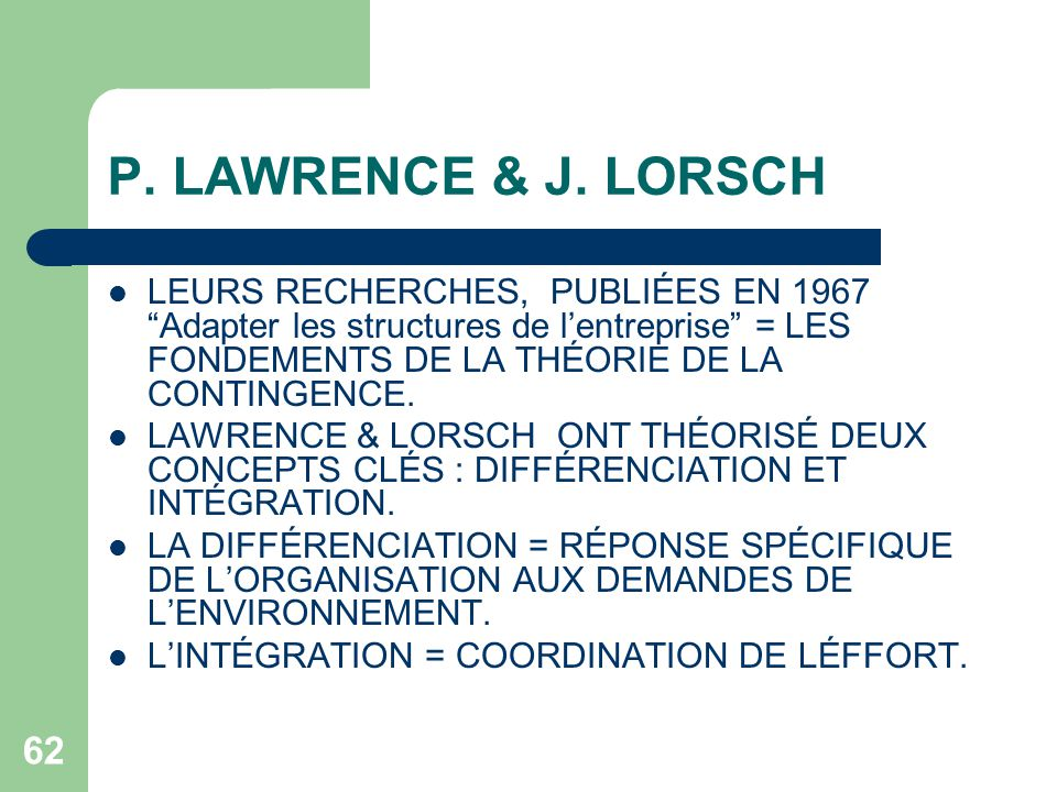 lawrence and lorsch organisation design In this paper, we focus on cross‐functional integration and approach it from the  point of view of organization design (lawrence and lorsch, [1967] 1986.