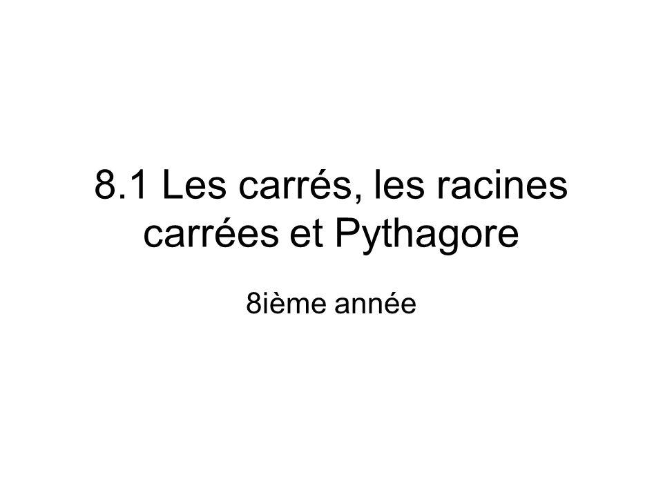 8.1 Les carrés, les racines carrées et Pythagore