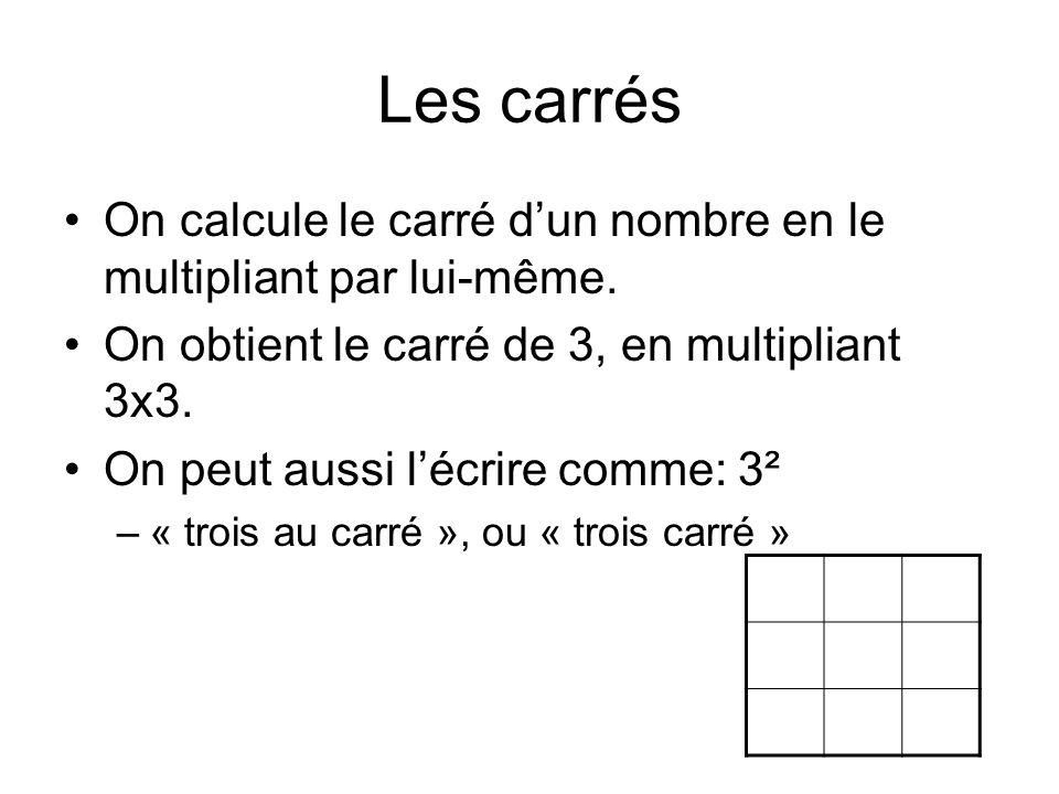 Les carrés On calcule le carré d'un nombre en le multipliant par lui-même. On obtient le carré de 3, en multipliant 3x3.
