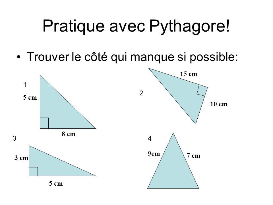 Pratique avec Pythagore!