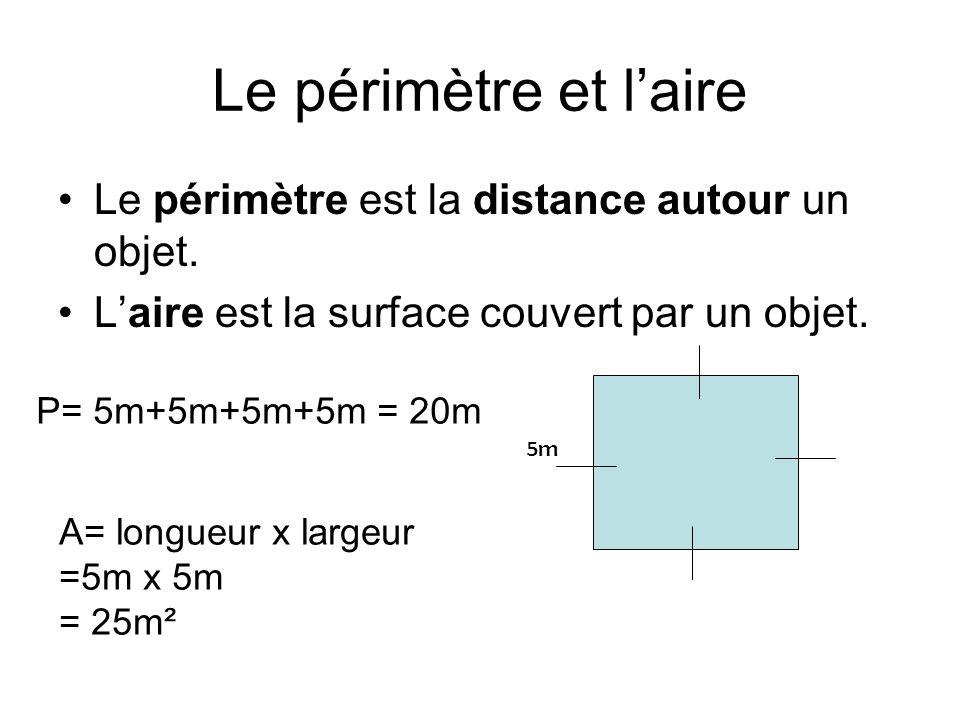 Le périmètre et l'aire Le périmètre est la distance autour un objet.
