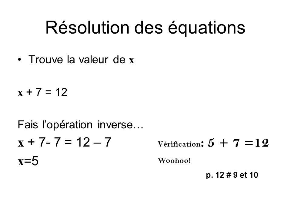 Résolution des équations