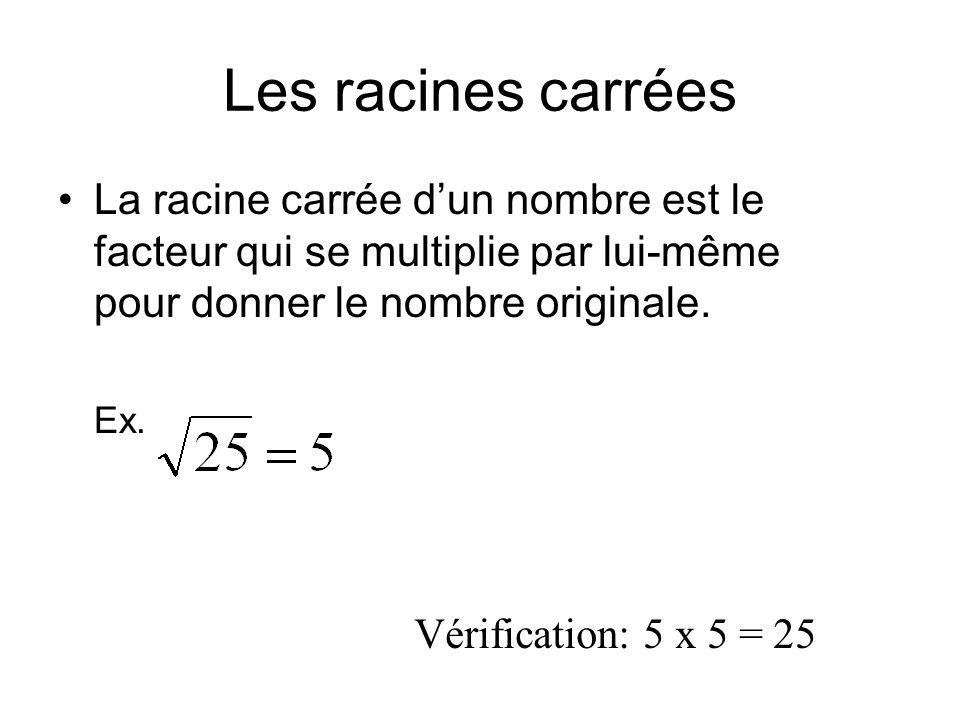 Les racines carrées La racine carrée d'un nombre est le facteur qui se multiplie par lui-même pour donner le nombre originale.
