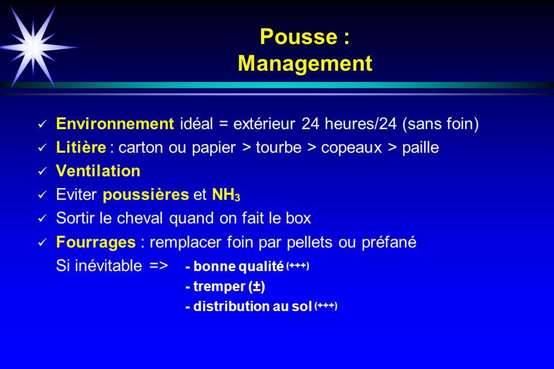 Pousse : Management Environnement idéal = extérieur 24 heures/24 (sans foin) Litière : carton ou papier > tourbe > copeaux > paille.