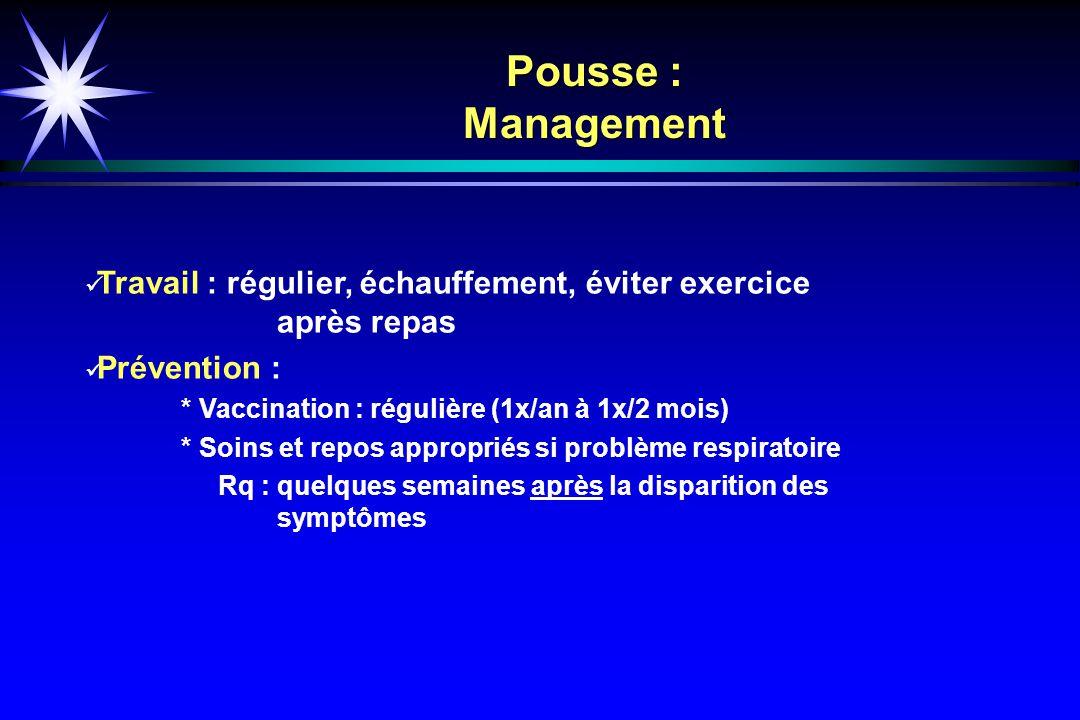 Pousse : Management Travail : régulier, échauffement, éviter exercice après repas. Prévention :