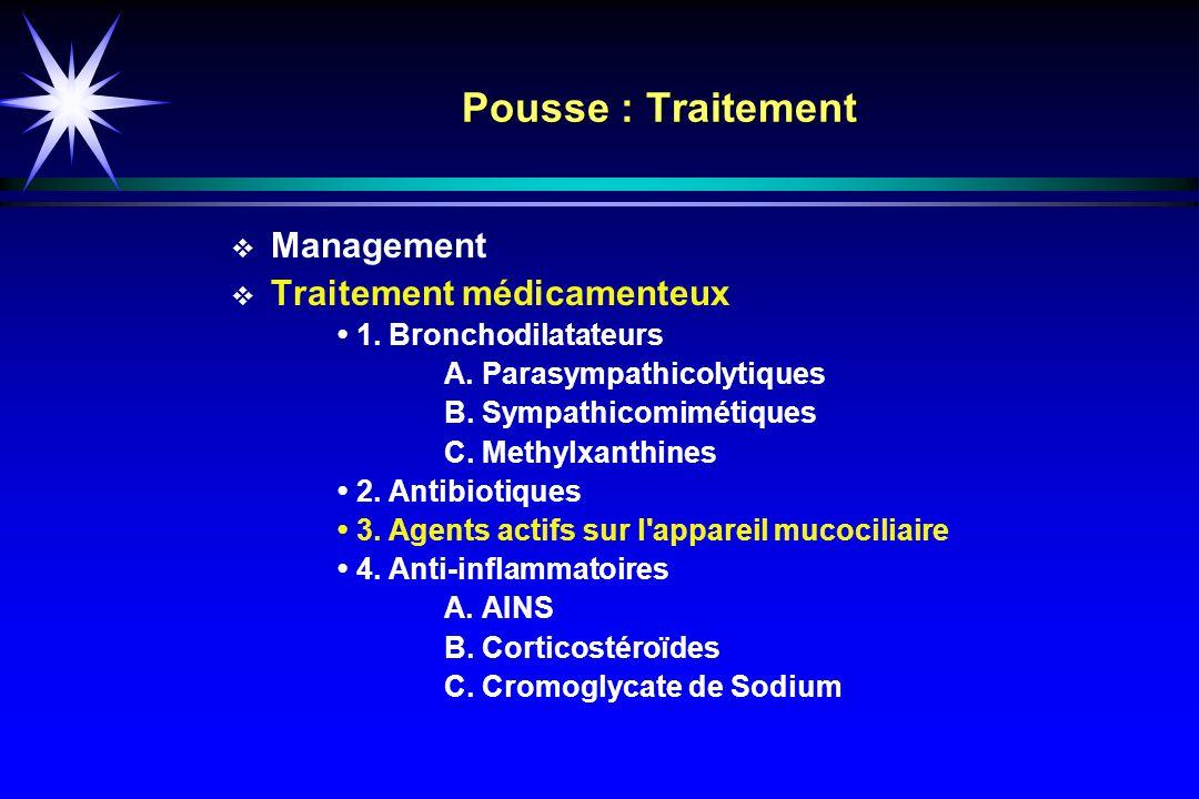 Pousse : Traitement Management Traitement médicamenteux