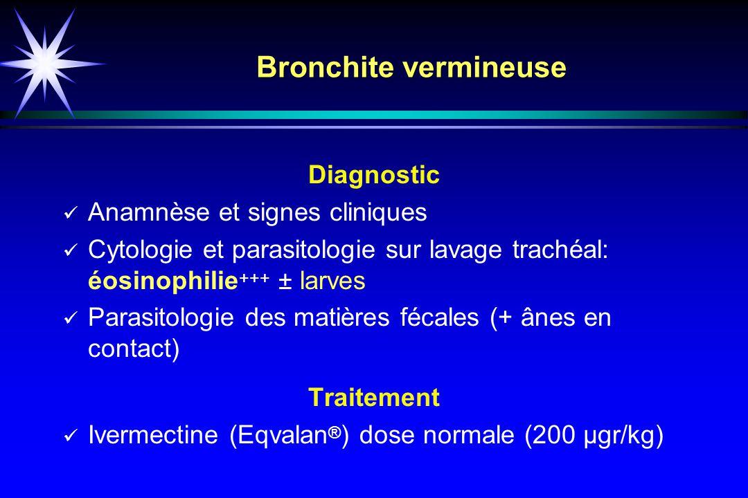 Bronchite vermineuse Diagnostic Anamnèse et signes cliniques
