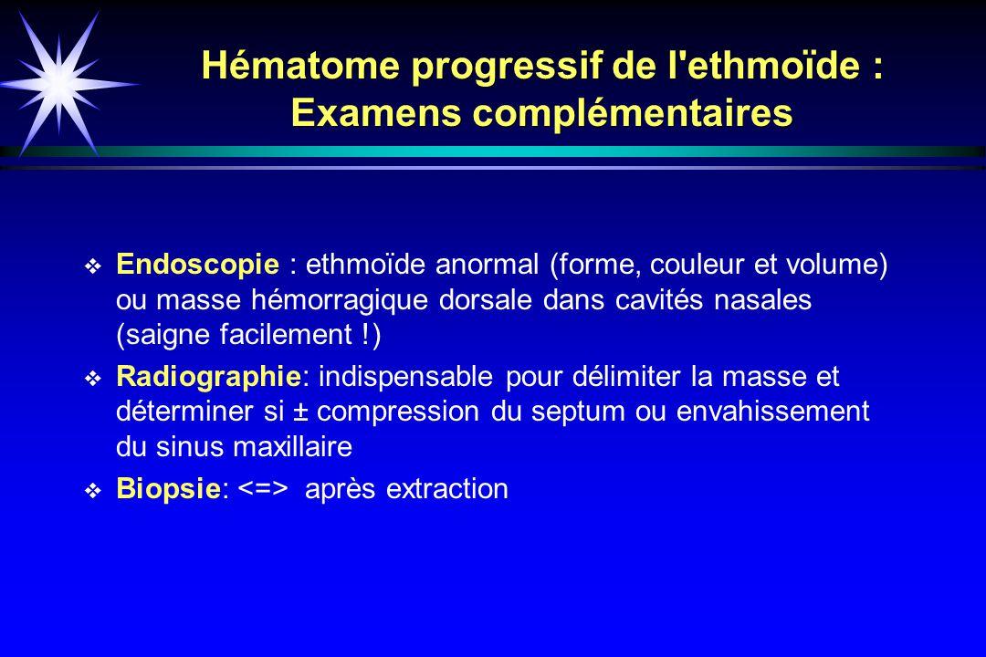 Hématome progressif de l ethmoïde : Examens complémentaires