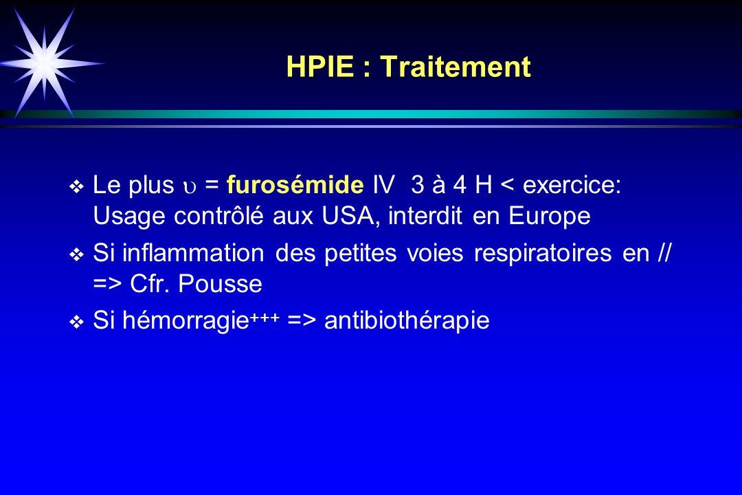 HPIE : Traitement Le plus u = furosémide IV 3 à 4 H < exercice: Usage contrôlé aux USA, interdit en Europe.