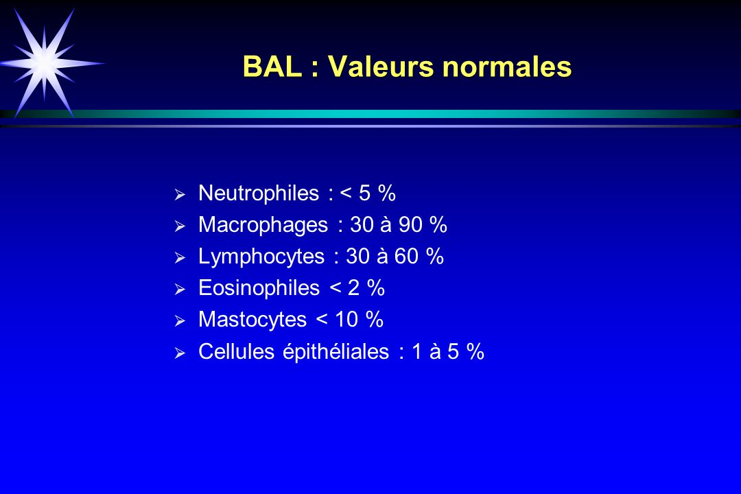BAL : Valeurs normales Neutrophiles : < 5 % Macrophages : 30 à 90 %