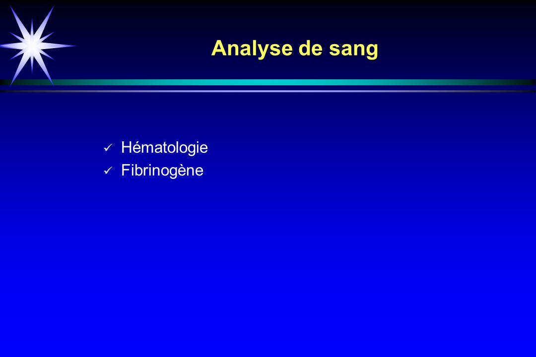 Analyse de sang Hématologie Fibrinogène