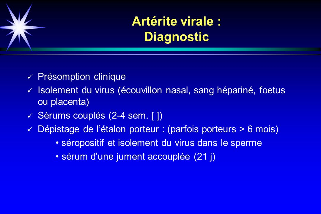 Artérite virale : Diagnostic