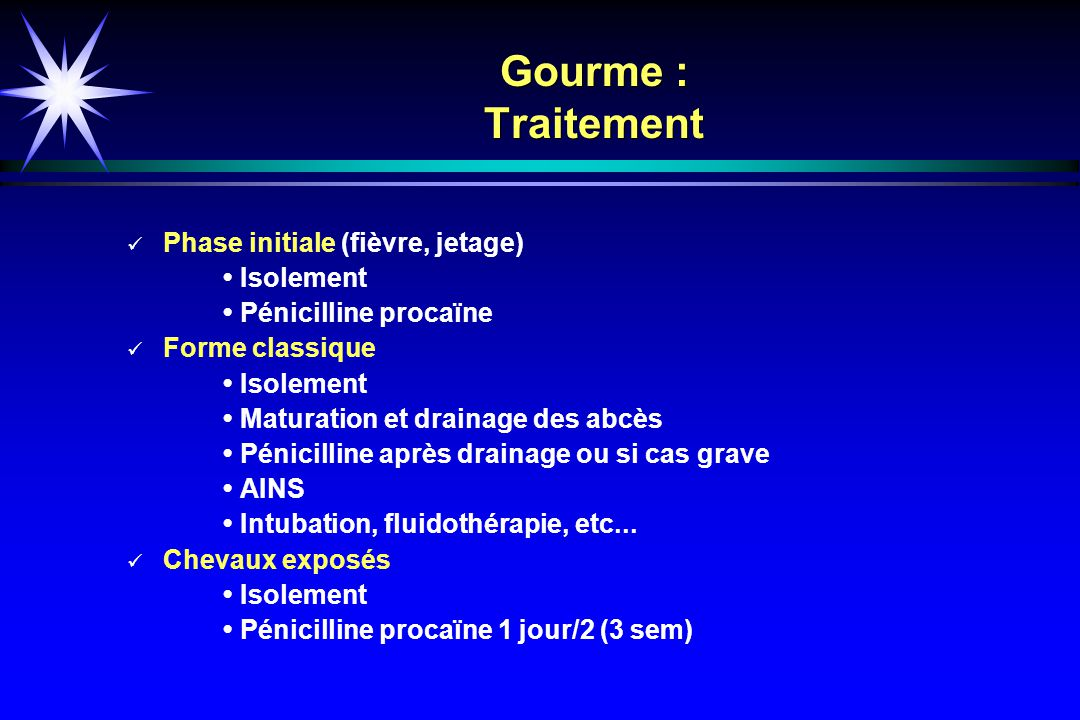 Gourme : Traitement Phase initiale (fièvre, jetage) • Isolement
