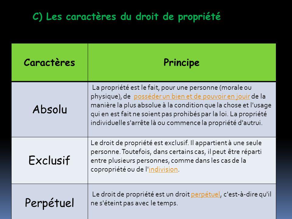 Absolu Exclusif Perpétuel C) Les caractères du droit de propriété