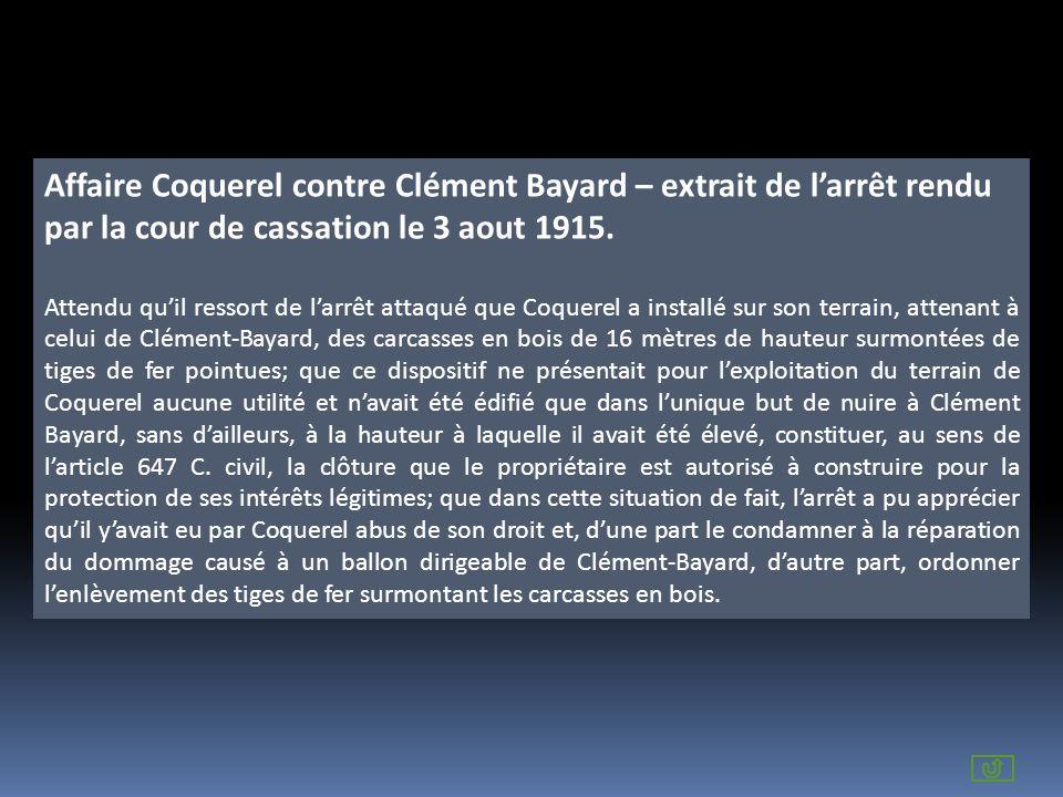 Affaire Coquerel contre Clément Bayard – extrait de l'arrêt rendu par la cour de cassation le 3 aout 1915.