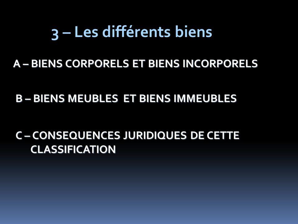 3 – Les différents biens A – BIENS CORPORELS ET BIENS INCORPORELS