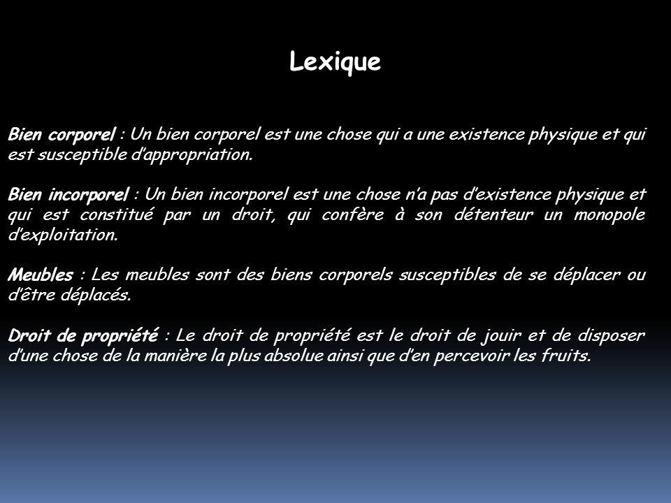 Lexique Bien corporel : Un bien corporel est une chose qui a une existence physique et qui est susceptible d'appropriation.