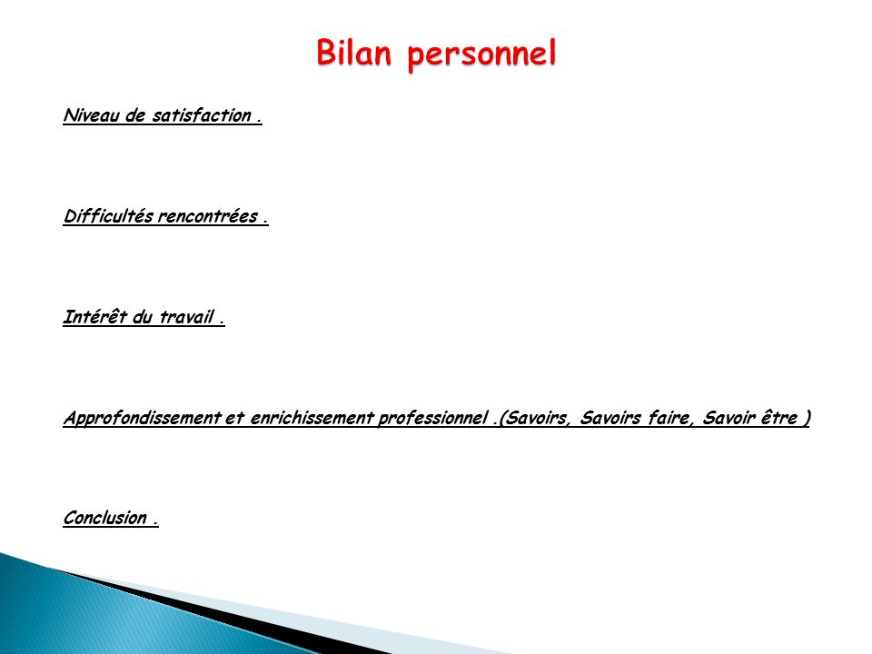 Bilan personnel