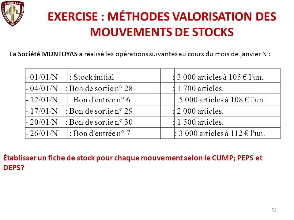 Exercice de stock options