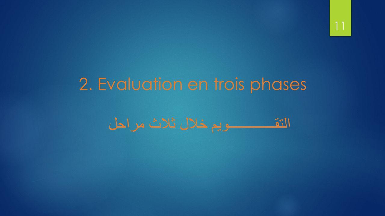 2. Evaluation en trois phases التقـــــــــــــويم خلال ثلاث مراحل