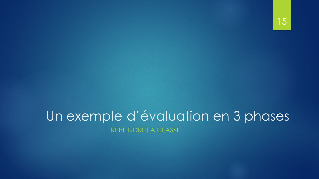 Un exemple d'évaluation en 3 phases