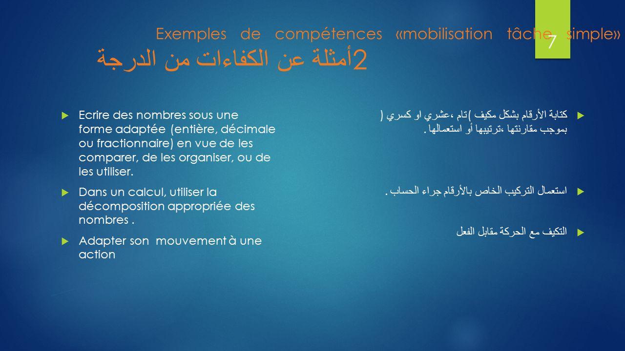 Exemples de compétences «mobilisation tâche simple» أمثلة عن الكفاءات من الدرجة 2