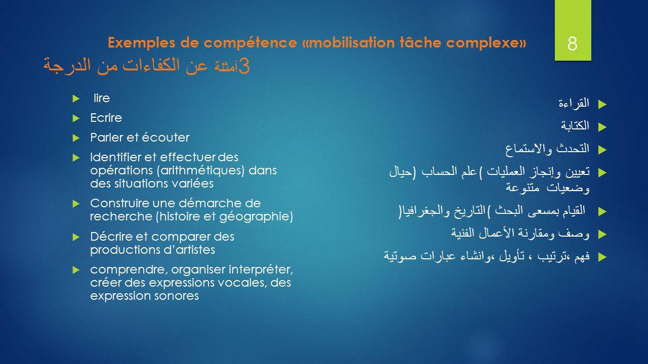 Exemples de compétence «mobilisation tâche complexe» أمثلة عن الكفاءات من الدرجة 3