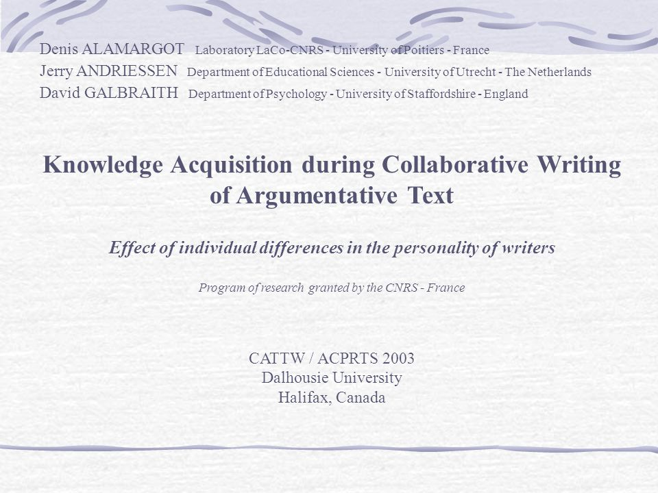 Knowledge acquisition during collaborative writing ppt tlcharger knowledge acquisition during collaborative writing toneelgroepblik Gallery