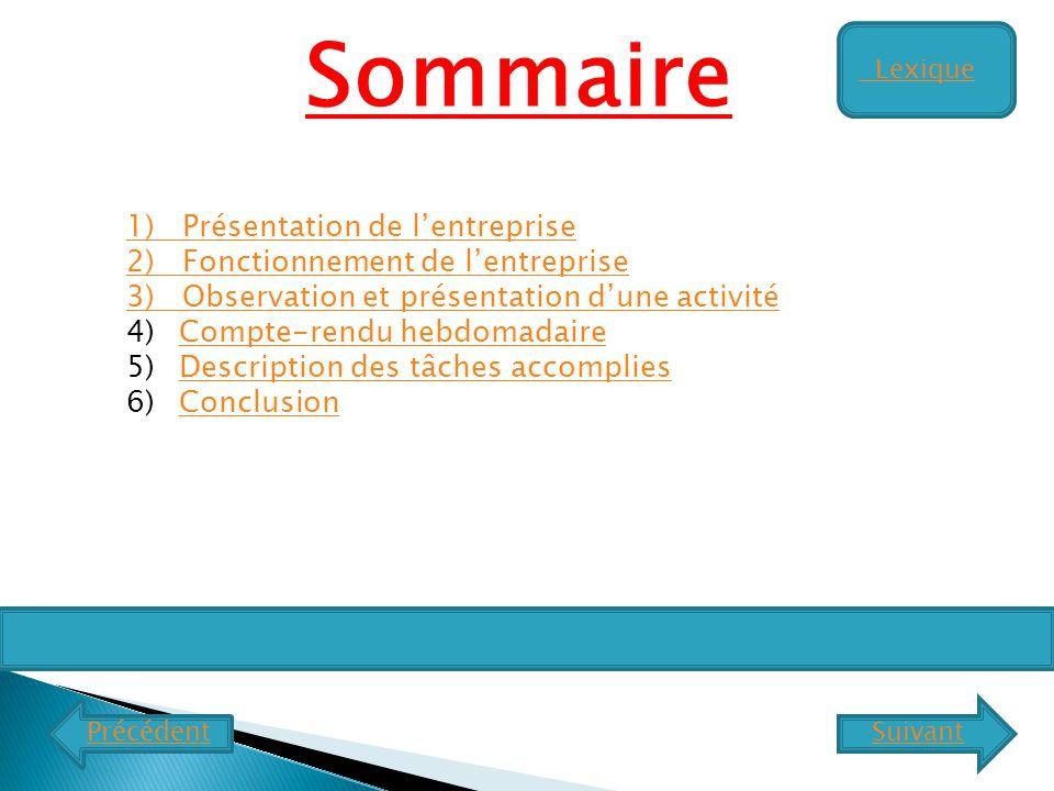 Sommaire 1) Présentation de l'entreprise