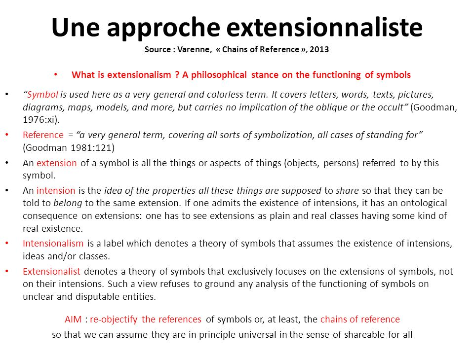 Une approche extensionnaliste Source : Varenne, « Chains of Reference », 2013